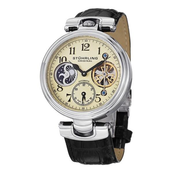 Stuhrling Original Men's Emperor Dual Time Automatic Strap Strap Watch