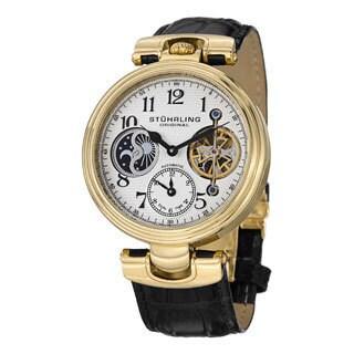 Stuhrling Original Men's Emperor Dual-time Automatic Black-leather Strap Watch