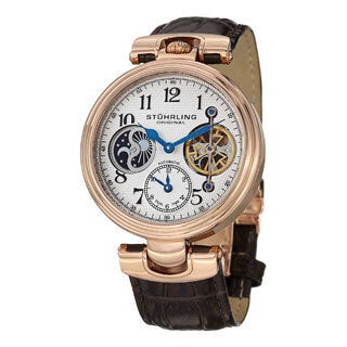 Stuhrling Original Men's Emperor Dual-time Automatic Brown-leather Strap Watch