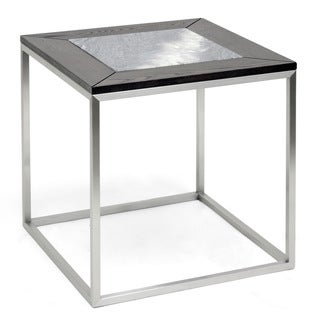 Baxton Studio Jezeka Brown Modern End Table with Marble Inlay