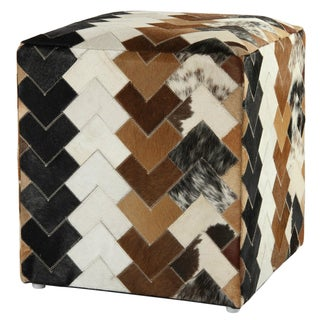 Brown Leather Arrow Hide Pouf Ottoman