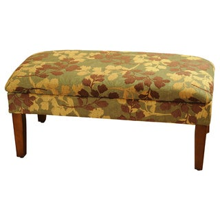 Brown/ Tan Leaf Chenille Storage Bench