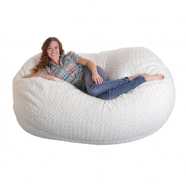 Oversized round lounge chair - Foot Soft White Fur Large Oval Microfiber Memory Foam Bean Bag Chair