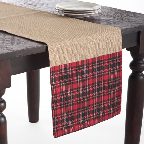Tartan Design Jute Red/Tan 72x16inches Table Runner