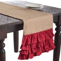 Ruffle Design Jute Red 90x16 inches Table Runner