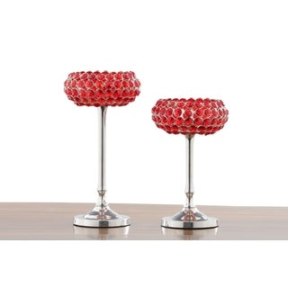 Red Crystal Candle Holder (Set of 2)
