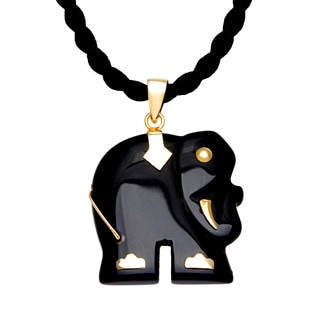 Neda Behnam 14k Yellow Gold and Onyx Elephant Pendant on 18-inch Black Silk Cord
