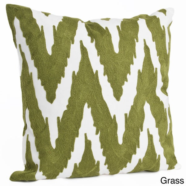 17x17-inch Square Chevron Print Feather Filled Throw Pillow