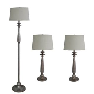 3-piece Antique Silver Finish Metal/ Resin Lamp Set