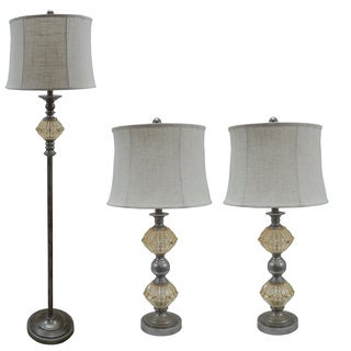 3-piece Antique Silver Finish Metal/ Amber Glass Lamp Set