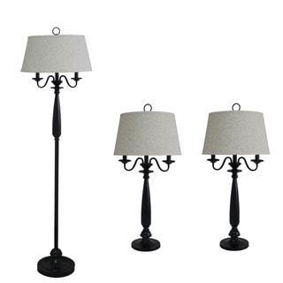 3-piece Matte Black Finish Metal/ Resin Lamp Set