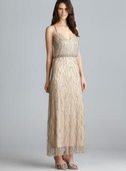 Adrianna Papell Cross Back Bead Embellished Blouson Dress