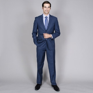 Bertolini Men's Blue Teakweave 2-button Wool and Silk Blend Suit