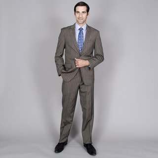 Men's Grey Blue Stripe 2-button Wool and Silk Blend Suit