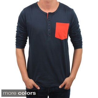 Men's Oxymoron Contrast Pocket Henley Shirt