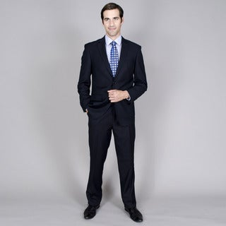 Men's Navy Shadow Stripe 2-button Wool and Silk Blend Suit
