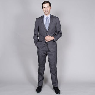 Men's Grey Burgundy Stripe 2-button Wool and Silk Blend Suit