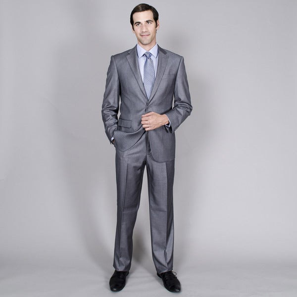 Men's Charcoal Stripe Two-Button Suit