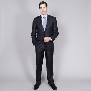 Men's Black Stripe Two-Button Double-Vented Suit
