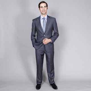 Men's Charcoal Stripe Wool/Rayon Two-Button Double-Vent Suit