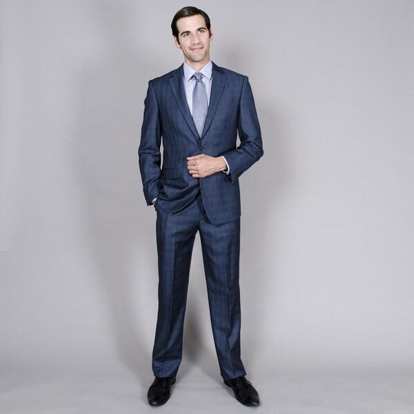 Men's Blue Grey Windowpane 2-button Suit