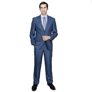 Men's Blue Teakweave 2-button Suit