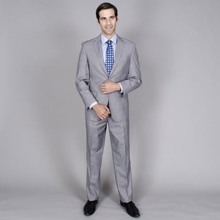 Men's Grey Teakweave 2-button Wool and Silk Blend Suit