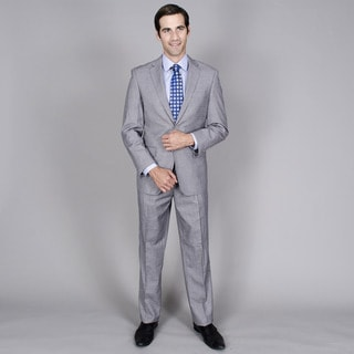 Bertolini Men's Grey Teakweave 2-button Wool and Silk Blend Suit