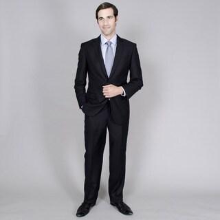 Men's Black Tone-on-Tone 2-button Suit