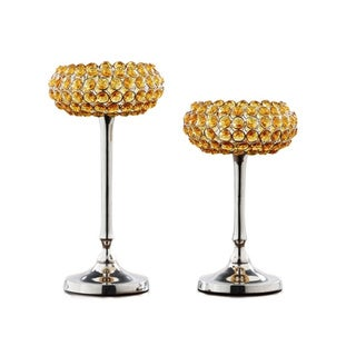 Yellow Crystal Candle Holder (Set of 2)