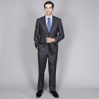 Men's Grey Tweed 2-button Wool and Silk Blend Suit