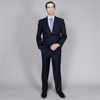 Men's Navy Stripe Double Vent 2-button Suit