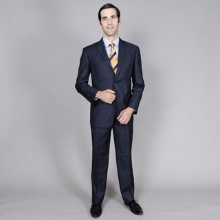 Men's Blue Check 2-button Suit