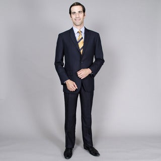 Men's Navy Stripe Notched Lapel 2-button Suit