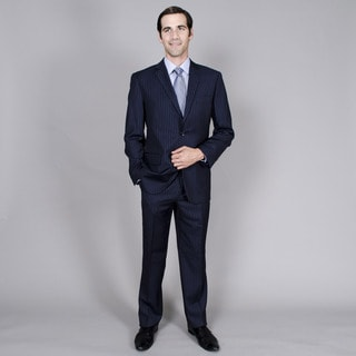 Carlo Lusso Men's Navy Stripe 2-button Suit