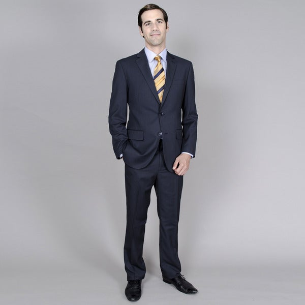 Men's Navy Stripe 2-button Flat Front Pant Suit