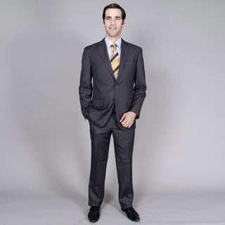 Carlo Lusso Men's Charcoal Stripe 2-button Suit