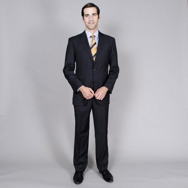 Men's Black Stripe Double Vent 2-button Suit