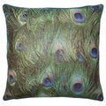 'Peri' Peacock Feather Patterned Down Fill Pillow