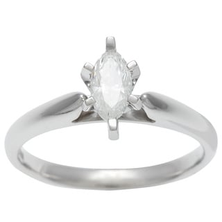 14k White Gold 1/2ct TDW Certified 6-prong Marquise Diamond Solitaire Ring (H-I, I1)