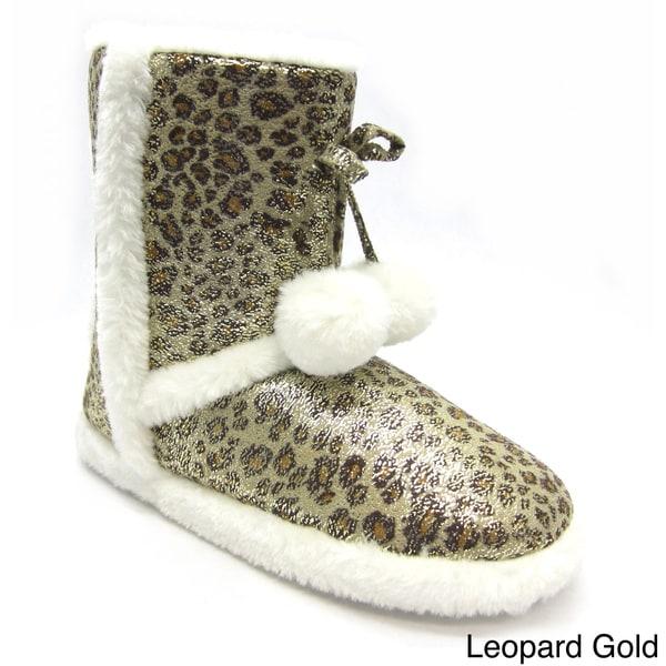 Blue Women's Mimi Leopard Slipper Booties