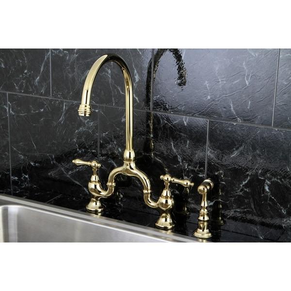 Vintage High Spout Polished Brass Bridge Kitchen Faucet