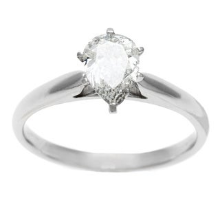 14k White Gold 1ct TDW Certified 6-Prong Pear Cut Diamond Solitaire Ring (H-I, I1)