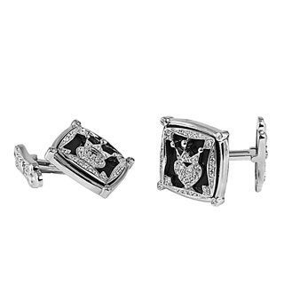 Sterling Silver Onyx and Cubic Zirconia Cuff Links