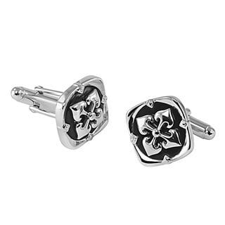 Sterling Silver Onyx Crown Overlay Cuff Links