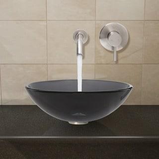 Vigo Brushed Nickel Sheer Black Glass Vessel Sink and Wall Mount Faucet Set