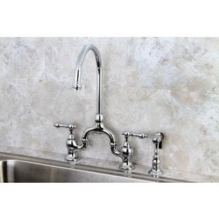 Vintage Polish Chrome High-spout Chrome Bridge Kitchen Faucet with Side Sprayer