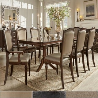 TRIBECCA HOME 'LaSalle' Espresso 9-piece Pedestal Extending Table Dining Set