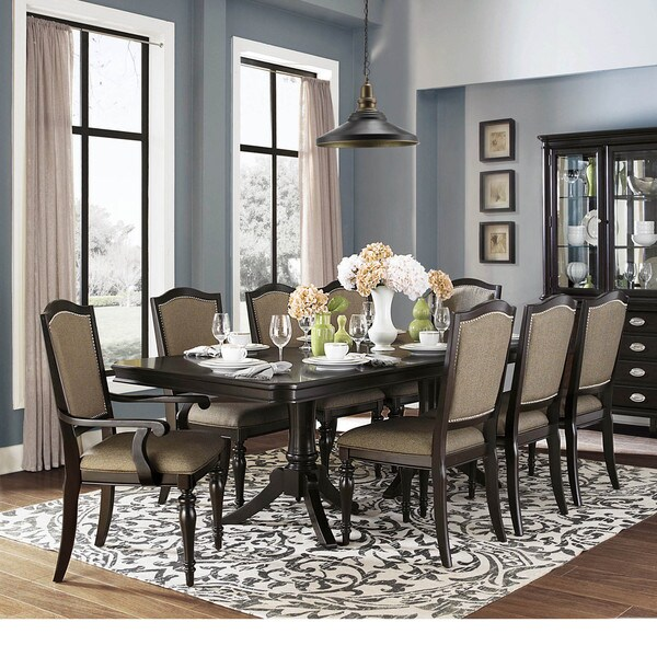 LaSalle Espresso Nail Head Transitional Dining Arm Chairs Set Of 2