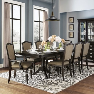'LaSalle' Espresso 9-piece Pedestal Extending Table Dining Set